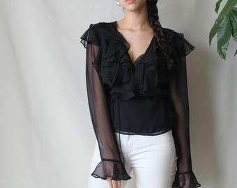 1980s Vintage Wrap Blouse, Stunning and Unique, Sheer Sleeve and Ruffle Detail with a Wrap Style and Ruffle Neckline