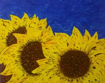 oil painting on canvas, sunflowers,