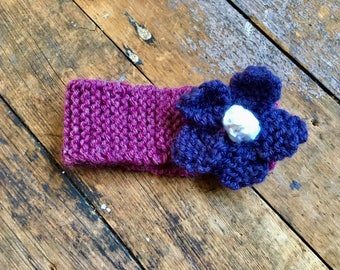 Hand Knit Flower Headband