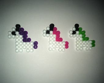 3 Mini Unicorns Perler Bead Art