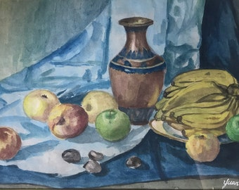 Fruits and Vase