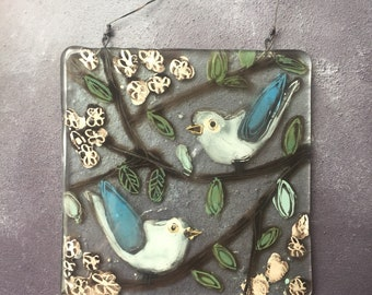 Beautiful Fused Glass Plaque - Pair of Birds