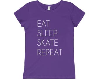 Eat Sleep Skate Repeat Girls Tee Tshirt Child