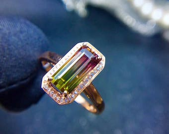 Watermelon Tourmaline diamond ring