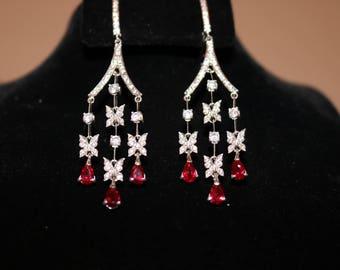 Kubachi Earrings with Red stones