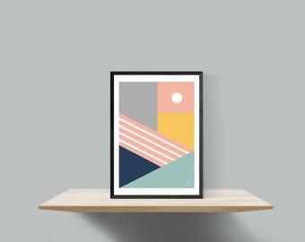 Bold geometric scandinavian inspired print , Untitled #3