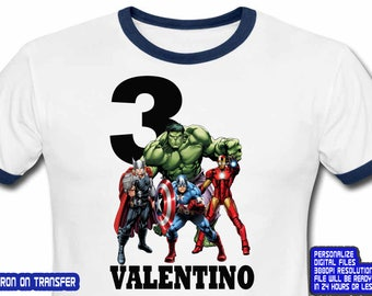 Avengers, Avengers Birthday Shirt, Avengers Iron On Transfer, Avengers Shirt, Boy Birthday Shirt DIY, Personalize Name, Digital File