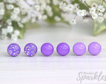 Violet stud earrings set, Set of 3 earrings, Purple earrings set, Gift for girlfriend, Simple Stud Earrings, Bridesmaid Gift, Trends 2018