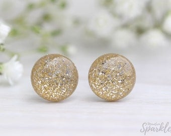 Gold glitter stud earrings, Simple Studs, Elegant earrings, Tiny Earrings, Sparkle Earrings, Bridal inspiration, Woman Gift, Dainty Earrings