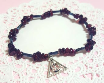 Harry Potter Inspired bracelet / Voldemort theme with deathly hollow charm / garnet chips beaded bracelet