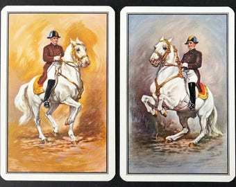 Pair Of Vintage Swap / Playing Cards - Gorgeous Show Horses - Smooth Finish - Mint Condition