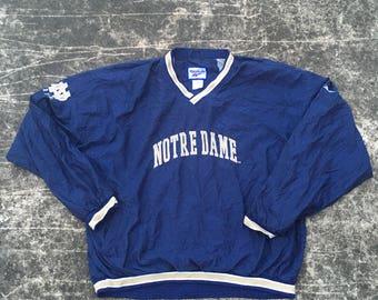 Vintage  NOTRE DAME Windbreaker by Reebok Pullover Jacket Windwear College Football NFL 90s Varsity Sports