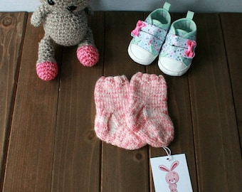 Hand Knit Baby Socks, 6 Months, Ready to Ship