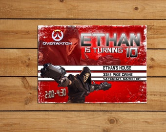 Personalized Overwatch Reaper Birthday Party Invitation