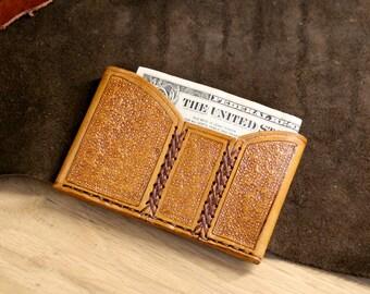 Slim leather card wallet. Stamped card holder.