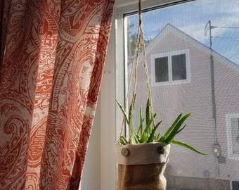 Jute and cotton hanging plant pot holder