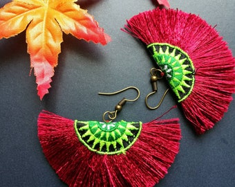 Handcraft Embroidered Tribal Ethnic Earrings Statement Dangle Drop Ethnic Boho Chic Red Tassel Earrings