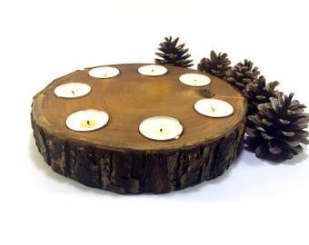 Oak Wood Log Candle Holder