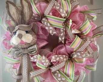 Bunny Wreath, Easter Wreath, Easter Bunny Wreath, Front Door Decor, Spring Wreath,