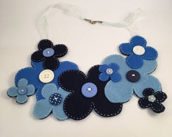 Funky Blue Felt Daisy Yoke Necklace
