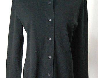 ISSEY MIYAKE. JAPAN. Textured Holes Black Long Sleeve Blouse Top