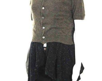 Comme De Garcons. JAPAN. Long Style Brown Black Speckle Knit Cardigan