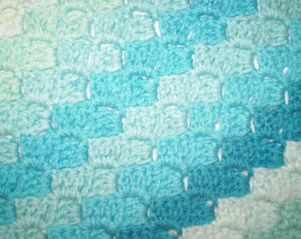 Mint Striped Corner to Corner Afghan