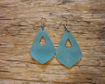 Teal Leather Earrings-dangle earrings