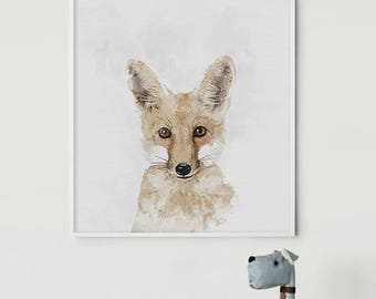 RedFox Watercolor - ArtPrint - NurseryPrint - FoxArt - FoxPrints - AnimalArt - FoxPrint - NurseryWall - KidsRoom Decor - NurseryDecor