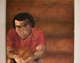 Oil Painting of a Basketball Player