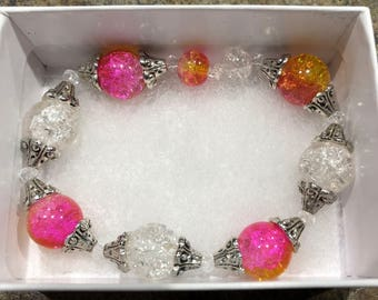 Orange/Pink and Clear Glass Bead Bracelet
