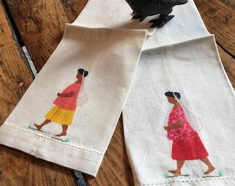 Vintage hand towels African village women print l cotton linen