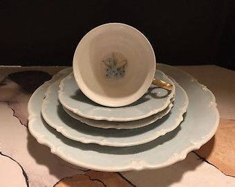 Very Rare Hutschenreuther Selb Hand Painted Signed Techla 1925-1950. 5 Pieces.