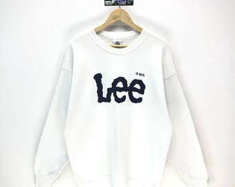 Rare!!! Made In USA Vintage Lee Sweatshirt Mr Lee Big Logo Spell Out Pullover Jumper Sweater Crew Neck Size XL Fit To L