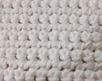 Pure White 100% Cotton Washcloth or Dishcloth