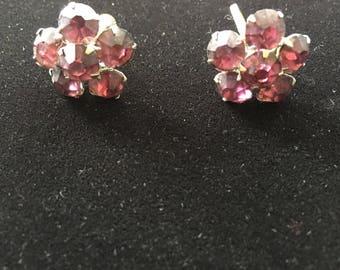 Vintage amethyst rhinestone style clip on earrings