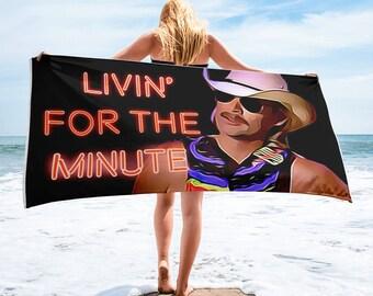 "Alan Jackson Chattahoochee ""Livin'"" Funny Beach Towel"