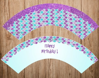 INSTANT DOWNLOAD Mermaid Cupcake Wrappers Printable Party Cupcake Toppers