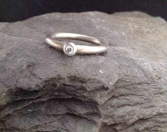 Ring silver 935er with cubic zirconia 3 mm