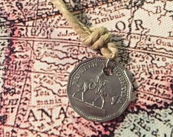 Argentina 10 peso coin necklace