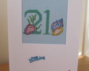 Cross Stitched Card No21 With Shells