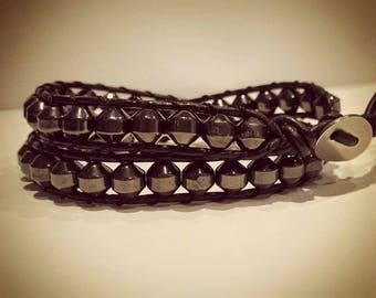 Hematite  2 wrap Leather Bracelet  34cm to 39cm