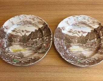 2 x vintage johnson bros plates