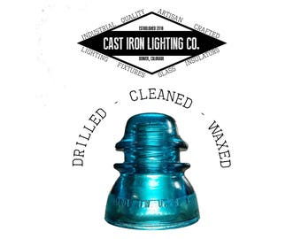 Pre-Drilled Blue Glass Insulator for Pendant or DIY Lighting - Hemingray 42 - CD 154