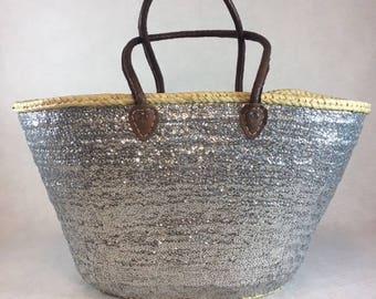Basket - Beach basket - basket silver glitter - - trendy basket - Summer bag - bag basketball - basketball Trend shopping cart
