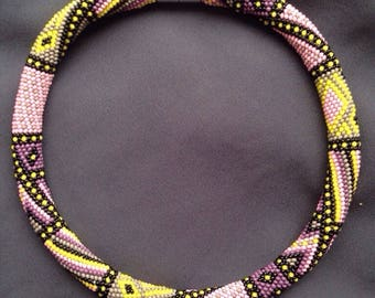 "Bead Crochet Necklace ""Печвок"" handmade beaded style for her"