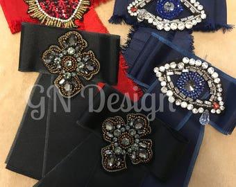 Bow brooch women trend ribbon, heart, evil eye