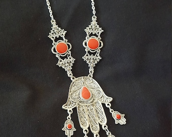Hamsa Statement Necklace from Morocco