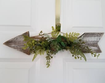 Rustic Arrow decorated with fun succulents and greenery.  Country decor, rustic, spring arrangement, summer arrangement, wall decor