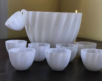 """White """"Milk Glass"""" punch bowl with 8 cups"""